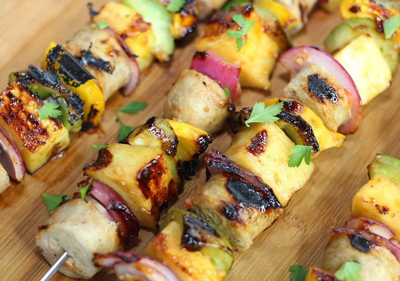 Grilled Hawaiian Chicken Sausage Kabobs
