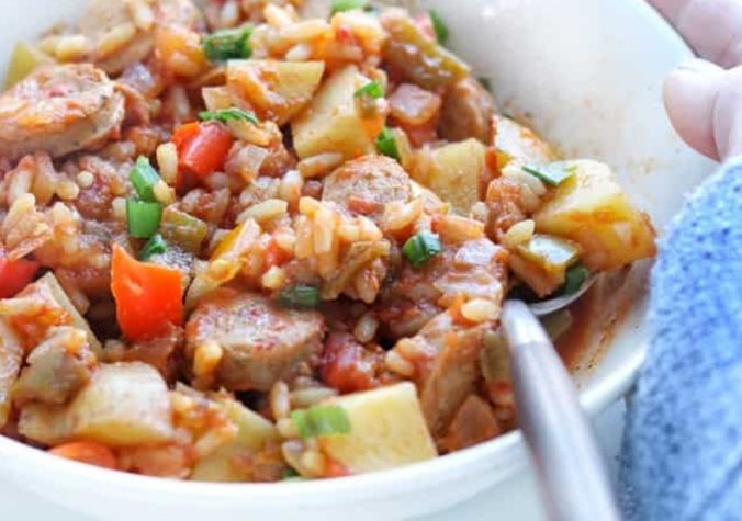 Slow Cooker Mexican Chicken Sausage Casserole