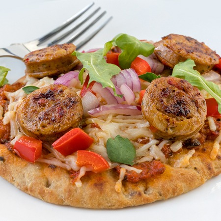 Chicken sausage and red pepper pizza