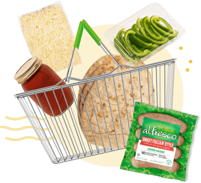 Chicken sausage, pasta sauce, flatbread, green peppers in a shopping basket