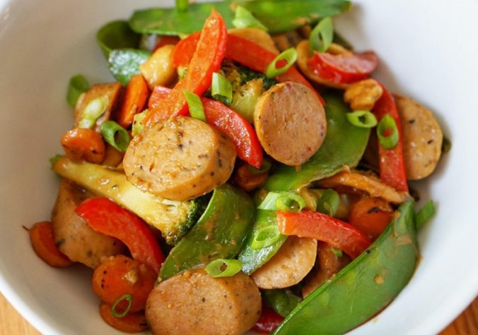 Chicken Sausage Stir Fry with Peanut Sauce