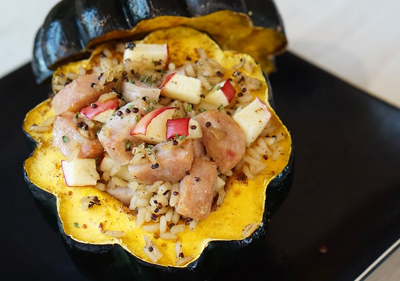 Chicken Sausage & Apple Stuffed Squash