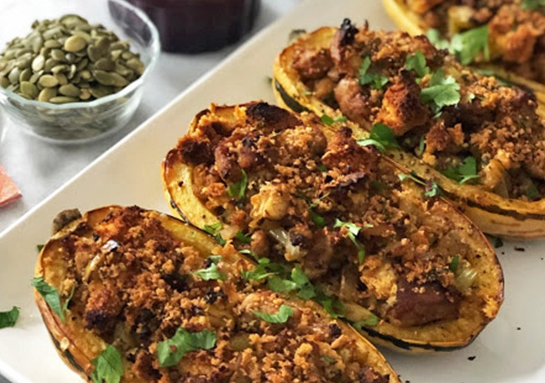 Chicken Sausage & Cornbread Stuffed Squash