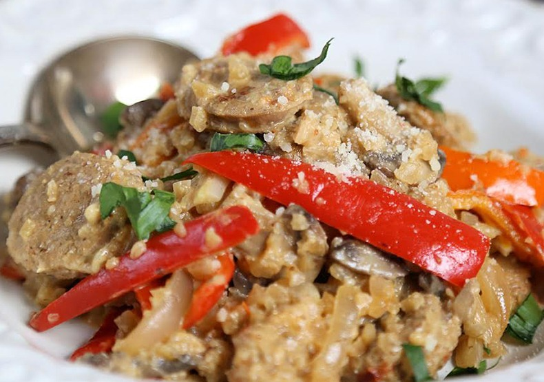 Cauliflower Risotto with Chicken Sausage, Mushrooms & Peppers