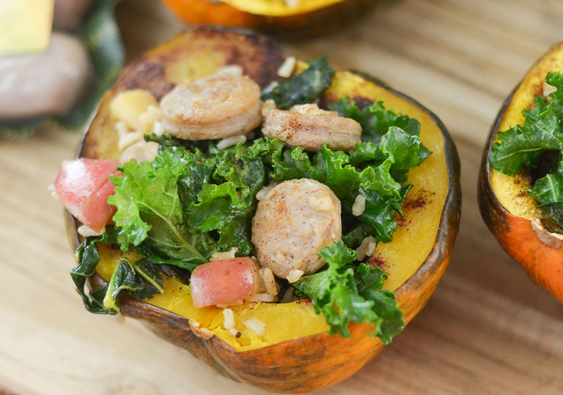 Chicken Sausage Stuffed Acorn Squash
