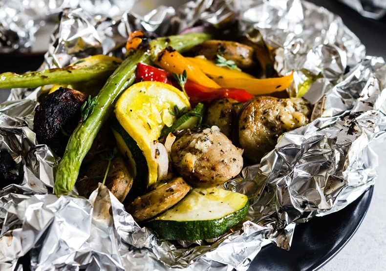 Chicken Sausage & Vegetable Foil Packets