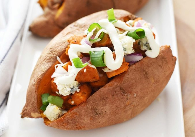 Baked Sweet Potato with Buffalo Chicken Sausage