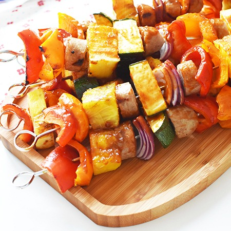 Chicken sausage and pineapple kabobs