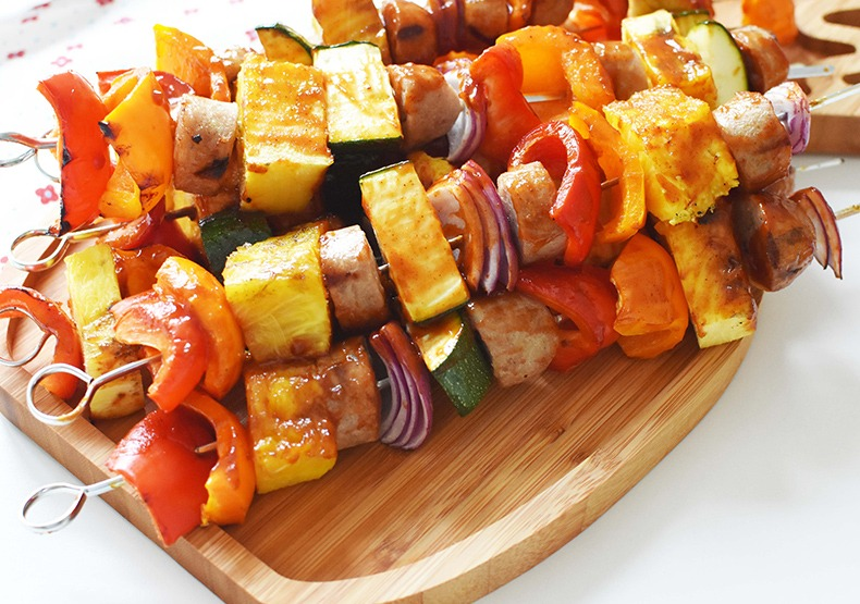 Grilled BBQ Chicken Sausage Kabobs with Pineapple & Veggies
