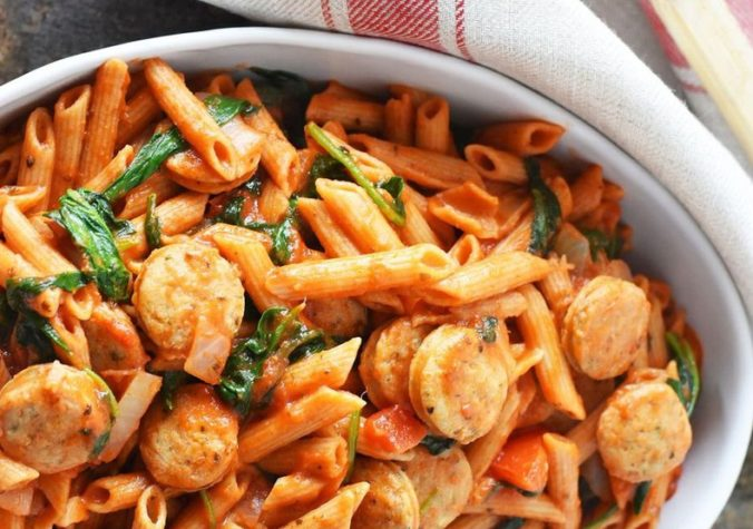 Chicken Sausage Penne with Spinach