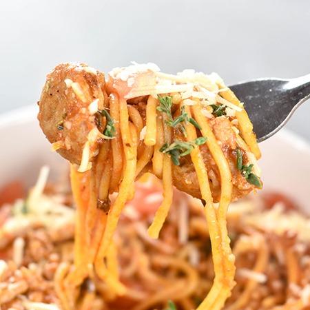 Chicken sausage Instant Pot Spaghetti