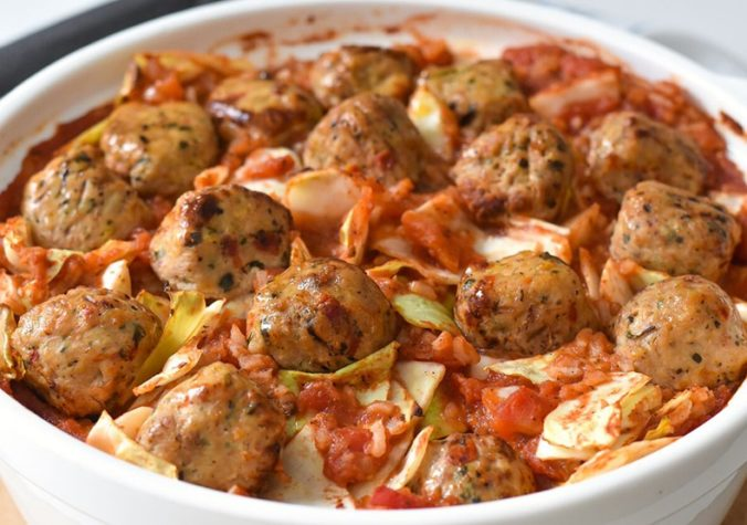 Cabbage & Rice Casserole With Chicken Meatballs