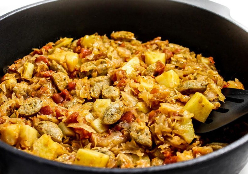 Chicken Sausage, Potato & Sauerkraut Skillet