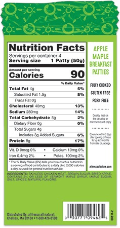 Apple Maple Chicken Breakfast Sausage Patties nutrition information