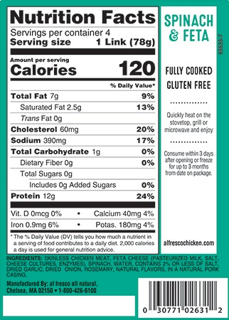 Spinach and feta chicken sausage nutrition info
