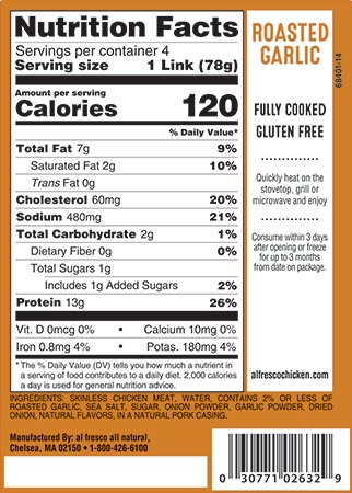 Roasted Garlic chicken sausage nutrition info