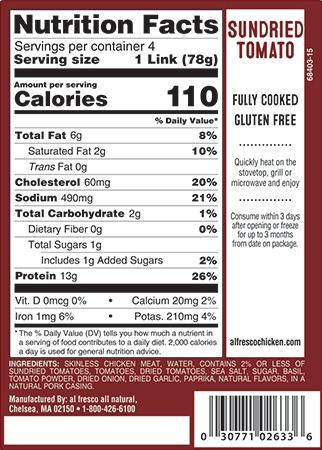Sundried Tomato Sausage nutrition info