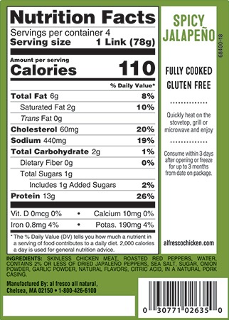 Jalapeno sausage nutrition info