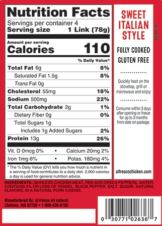 Sweet Italian Style sausage nutrition info