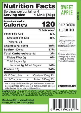 Sweet Apple sausage nutrition information
