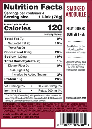 Smoked Andouille sausage nutrition info