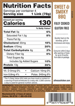Sweet and smoky BBQ sausage nutrition information