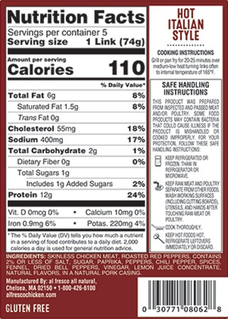 Hot Italian sausage nutrition info