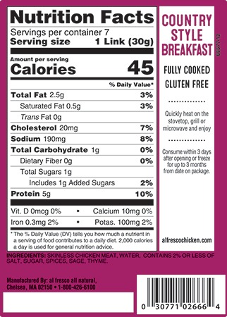 Country style breakfast sausage nutrition info