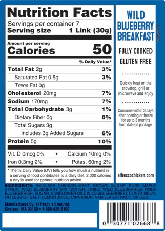 Wild Blueberry breakfast sausage nutrition info