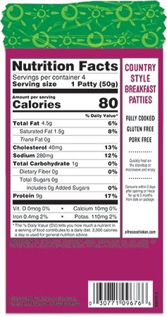 Country Style chicken sausage patties nutrition panel