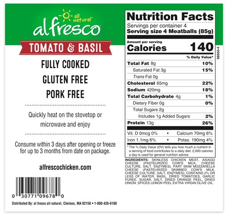 Tomato and Basil chicken meatballs nutrition information panel