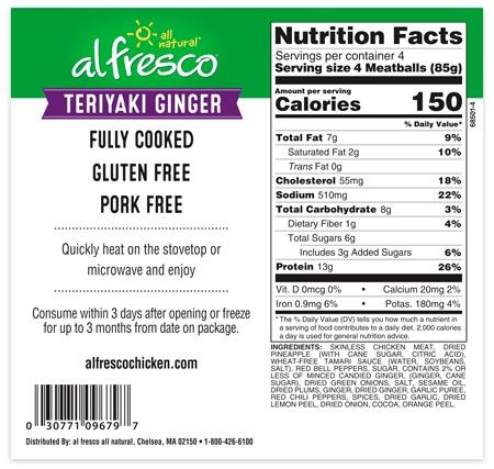 Teriyaki Ginger chicken meatballs nutrition information