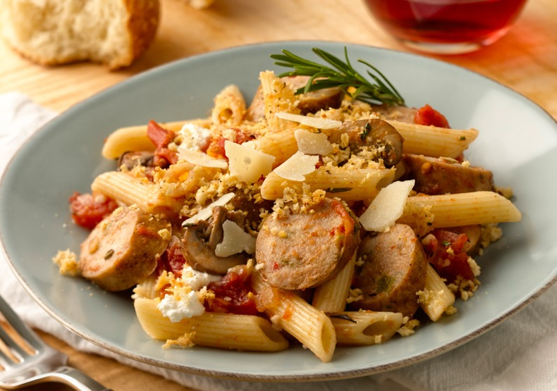 Baked Penne with Sweet Italian Chicken Sausage & Red Wine