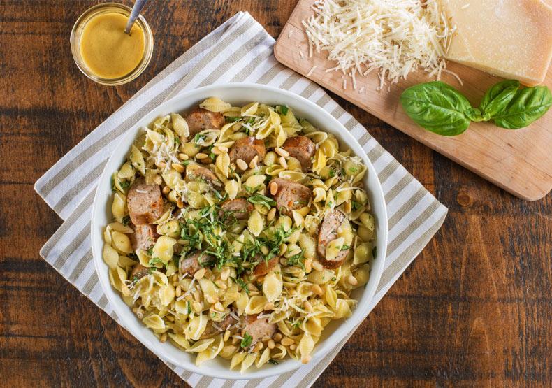 Pesto, Sundried Tomato Chicken Sausage and Pasta Salad