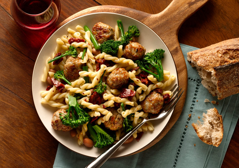 Gemelli with Broccolini and Italian Style Meatballs