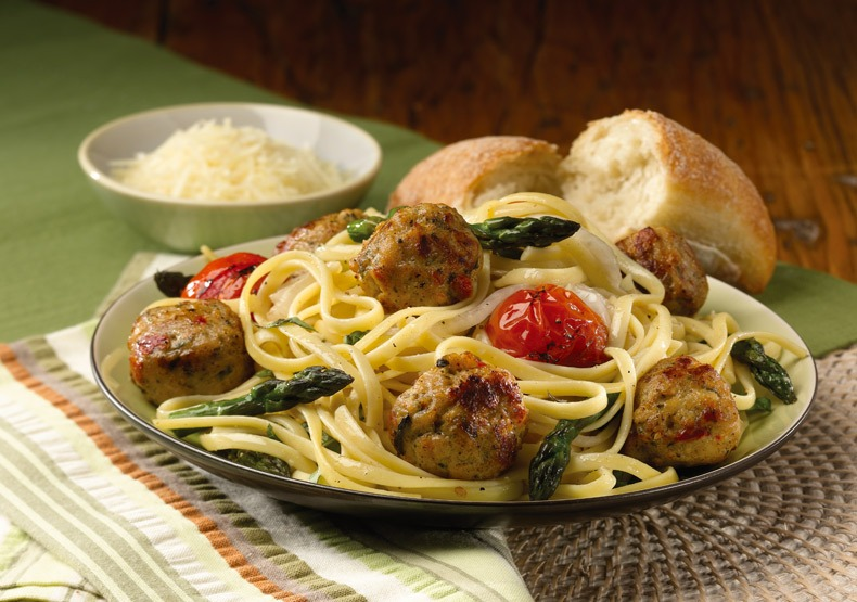 Linguini with Roasted Vegetables and Tomato & Basil Chicken Meatballs