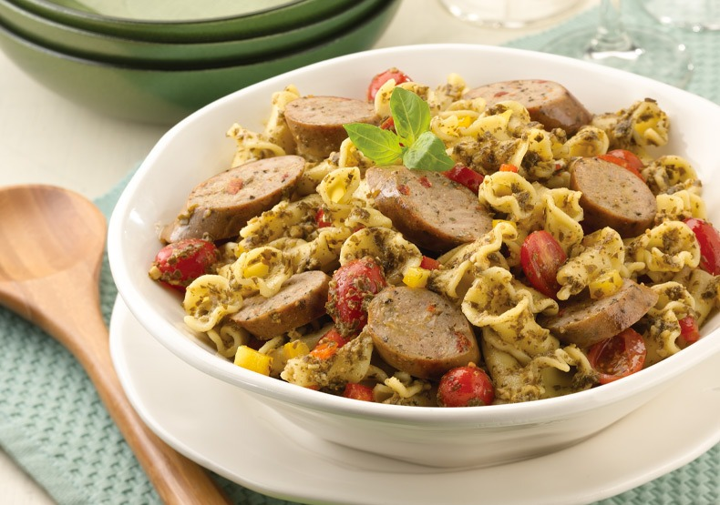 Sundried Tomato Chicken Sausage Pesto and Pasta
