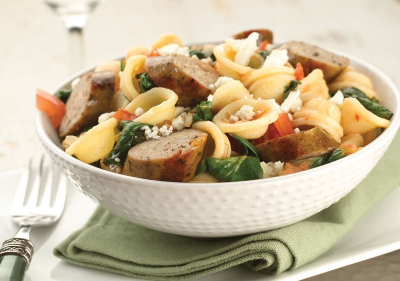 Orecchiette with Sundried Tomato Chicken Sausage and Spinach