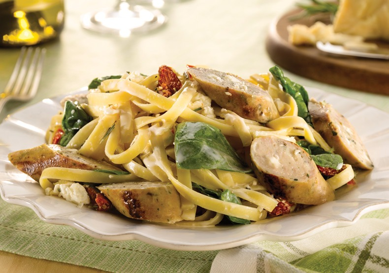 Spinach & Feta Chicken Sausage with Fettuccini
