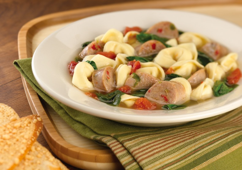 Sweet Italian Chicken Sausage & Tortellini Soup