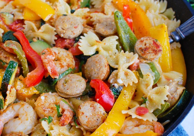 Cajun Pasta with Chicken Sausage and Shrimp