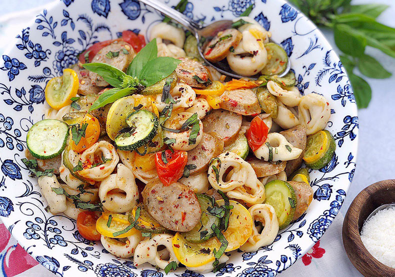 Summer Veggies, Chicken Sausage, and Tortellini