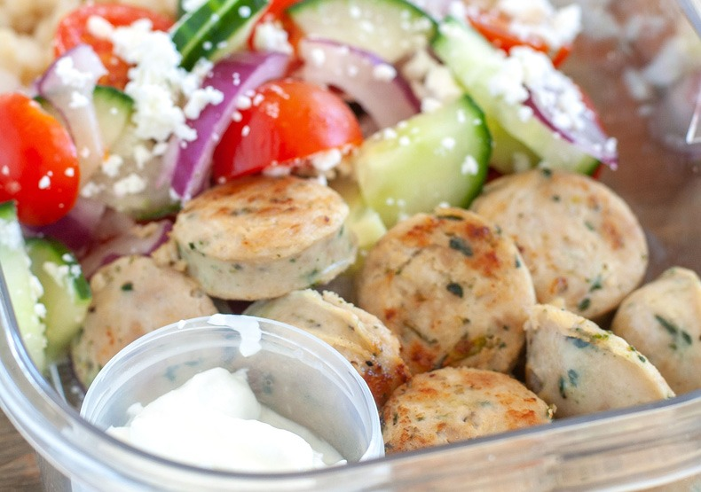 Greek Meal Prep Bowls with Chicken Sausage