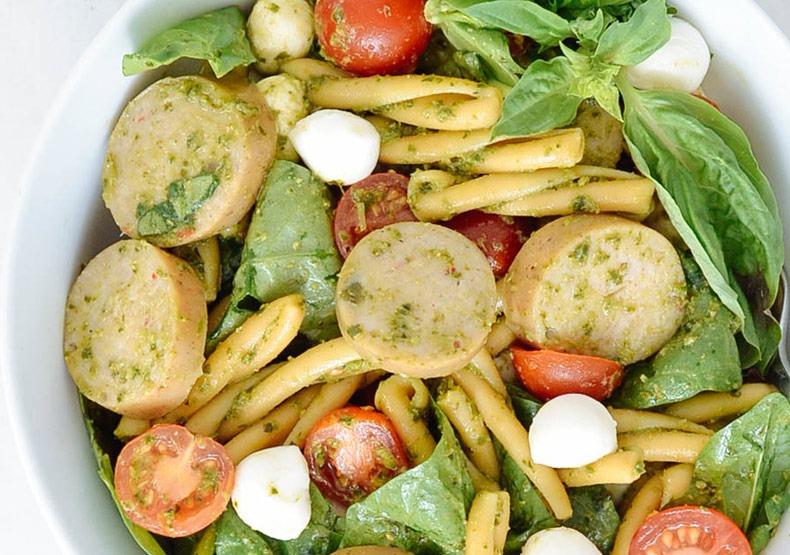 Chicken Sausage Caprese Pesto Pasta
