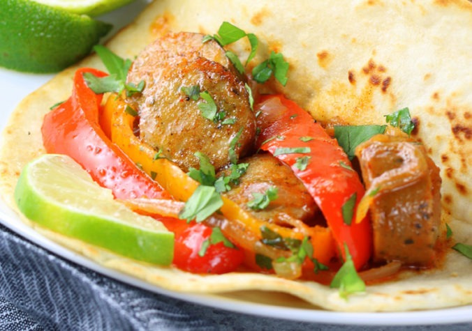 Easy Chicken Sausage Fajitas<span class=