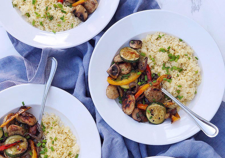 Grilled Chicken Sausage and Veggie Couscous Bowls
