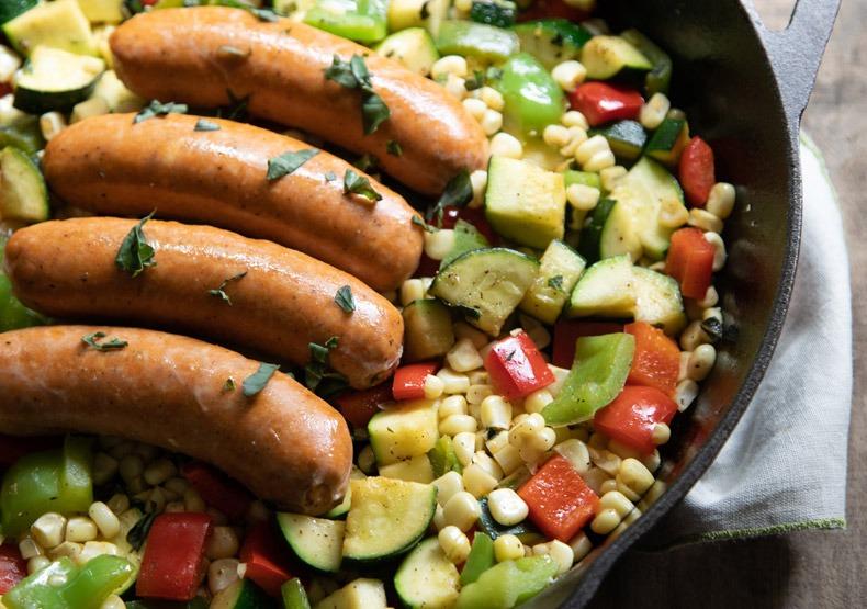 Smoked Chicken Sausage Skillet with Veggies