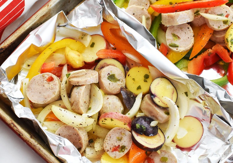 Foil Packet Dinner with Sweet Italian Sausage
