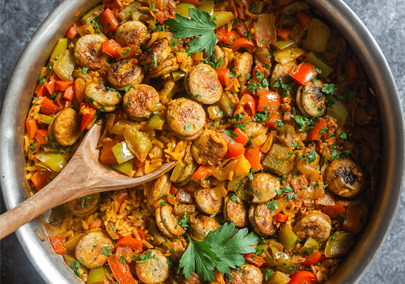 One Pot Chicken Sausage and Rice Skillet