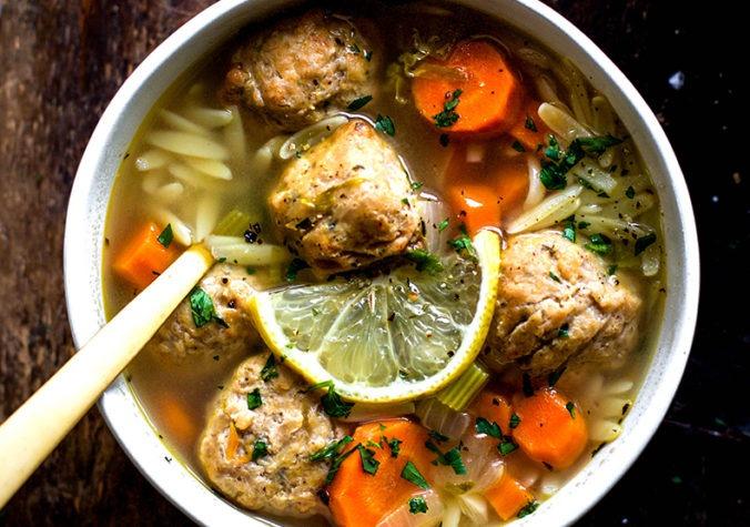 Lemon Chicken Meatball and Orzo Soup